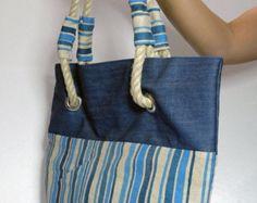 Recycled blue jeans denim market bag denim von NewLifeTreasures