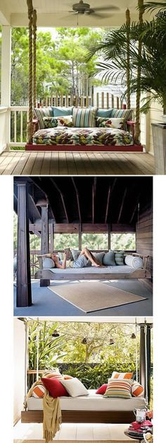 A Porch Swing Daybed and other things for my dream house. I don't need everything on this list, but an indoor slide, outdoor kitchen, huge window seat, and a fireplace on my porch are all high on my list. Style At Home, Outside Living, Outdoor Living, Veranda Design, Outdoor Spaces, Outdoor Decor, Interior Exterior, Home Fashion, My Dream Home