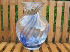 Caithness glass handcrafted in Scotland blue and purple storm art glass swirled vase