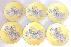 Made In China Dancing Geisha Shallow Rice Bowl Set www.thesecondhandplanet.com