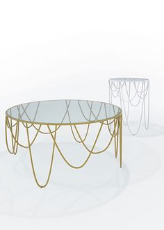 """""""Drapery"""" occasional round table - steel rod frame chromed or power-coated, transparent crystal table top - table designed by Nathan Yong for SpHaus"""
