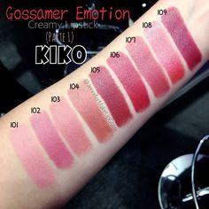"""""""(PARTE 1) - Desde mañana 20/11 tenéis disponible en #KIKOGijón (e imagino que en las demás tiendas KIKO) los nuevos labiales GOSSAMER EMOTION CREAMY…"""""""