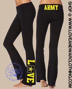 LOVEANDWARCLOTHING - Army Love flared yoga pants, $34.95 (http://www.loveandwarclothing.com/army-love-flared-yoga-pants/)