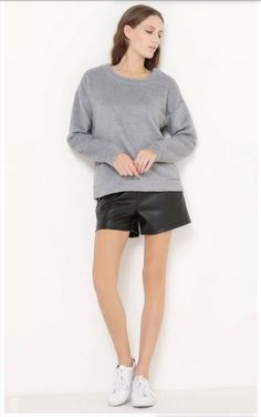 Grey sweatshirt+black leather shorts+white sneakers. Fall Casual Outfit 2016