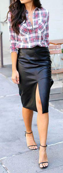 Plaid + leather skirt.