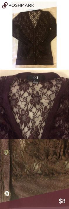 Dark purple lace long v-neck cardigan Dark purple lace deep-v long cardigan with 2 pockets on the front. Size L (but does run small as it is not stretchy at all). Worn and washed a few times, some slight pilling on the cotton trim but no lace is torn. Forever 21 Tops Tunics