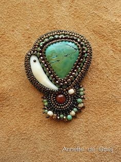 Turquoise bead embroidered brooch by JirikiDesigns on Etsy, €75.00