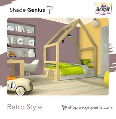 Retro colours are those that are often less saturated and have a more flat feel than other hues. From oranges to yellowish-browns to off-white to blues are often selected for the bedroom wall.