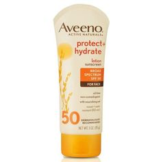 Aveeno Protect Hydrate Face Moisturizing Sunscreen Lotion with Broad Spectrum SPF 50 & Antioxidant Oat Oil-Free Lightweight Sweat- & Water-Resistant Sun Protection Travel-Size 3 oz Best Drugstore Sunscreen, Drugstore Skincare, Aveeno Active Naturals, Best Face Products, Beauty Products, Beauty Tips, Beauty Stuff, Broad Spectrum Sunscreen, Products