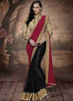 Black Maroon Embroidery Work Silk Georgette Lycra Designer Wedding Half Sarees http://www.angelnx.com/bestseller