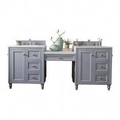 James Martin Furniture Copper Cove Encore - 86 Double Vanity Set with Makeup Table with Carrara Marble Top - Bathroom Furniture - Double Vanities - Double Vanities Double Sink Bathroom, Double Sink Vanity, Bathroom Sink Vanity, Bath Vanities, Master Bathroom, Small Bathroom, Gray Bathrooms, Bathroom Vanity Designs, Bathroom Vintage