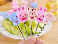 8 pcs /box cute cartoon stainless steel dessert fork bento food fruit picks  picksdessert fork dessert forks set mini forks