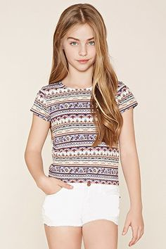 Girls Abstract Print Tee (Kids)