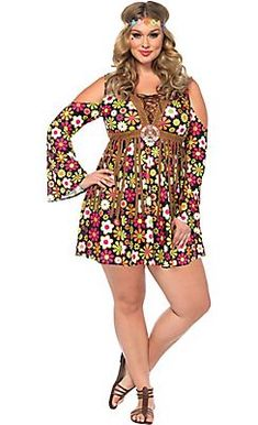 This Plus Size Starflower Hippie Costume for women is a fun, flirty costume made by Leg Avenue. Costume Disco, 60s Costume, Costume Sexy, Costume Dress, Costume Parties, Flower Costume, Plus Size Halloween, Hippie Dresses, Hippie Outfits