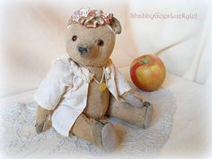 Small well  loved teddy bear made in pre  war by ShabbyGoesLucky