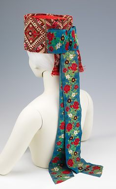 Headdress Date: Culture: Hungarian Medium: wool, silk, metal, cotton, paper Traditional Fashion, Traditional Dresses, Historical Costume, Historical Clothing, Folklore, Costume Ethnique, Hungarian Embroidery, Ethnic Dress, Costume Collection