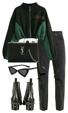 Designer Clothes, Shoes & Bags for Women Edgy Outfits, Mode Outfits, Jean Outfits, Winter Outfits, Fashion Outfits, Look Fashion, Teen Fashion, Korean Fashion, Winter Fashion