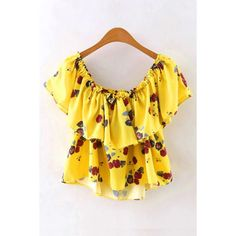 Yoins Yellow Floral Print Off Shoulder Frilled Top ($16) ❤ liked on Polyvore featuring tops, shirts & tops, yellow, ruffle crop top, floral crop tops, off the shoulder shirts, off the shoulder crop top and floral shirt