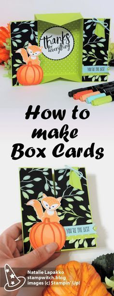 Box card tutorial by Natalie Lapakko featuring Foxy Friends stamps and Patterned Pumpkin dies from Stampin' Up!