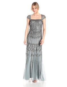 Adrianna Papell Women's Long Beaded Dress with Cap Sleeves and Square Neck, Slate, 4