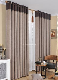 Simple Casual Faux Linen Fabric Light Coffee Color Thick Modern Curtain