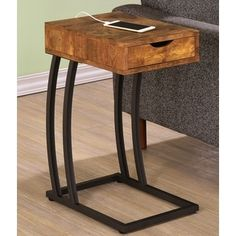 Antique Storage Drawer Snack Accent Table With Power Strip. Online  Furniture StoresFurniture ...