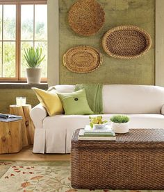 living room - green and brown, texture, area rug, natural wood...love the colors...just lovely...