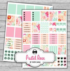 Watercolor floral planner stickers.