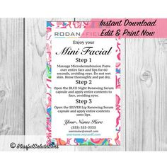 Instant Download - Rodan and Fields - randf Mini Facial Cards - Edit & Print Now - Digital Download - Ready to Print by BlissfulSalutations on Etsy