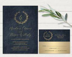 Navy Blue Gold Wedding Invitations Printable Industrial