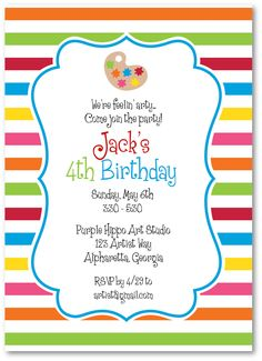 Art Party Invitations by ThePreppyLadybug on Etsy