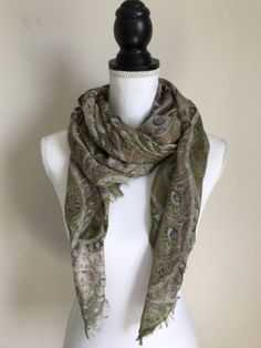 My favourite ❤   COURAGE.B COUTURE SCARF SILK CASHMERE BLEND SHAWL WEDDING GREEN PAISLEY SOFT