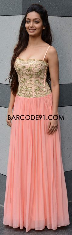 http://www.barcode91.com/ Pooja Salvi modelling for Shevger Merchant Doshi in a peach gown at IIJW 2013