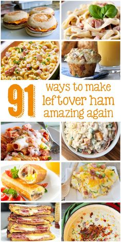 91 leftover ham recipes all in one place? This is the definitive guide to what you can do with your leftover ham. I want to make a ham now just so I have the leftovers to try in these dishes. Find your new favorite ham dish now! Leftover Ham Recipes, Leftovers Recipes, Turkey Leftovers, Thanksgiving Leftovers, Dinner Recipes, Pork Recipes, Cooking Recipes, Recipes With Ham, Recipies