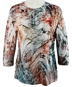 Jess  Jane  Monet 34 Sleeve Scoop Neck Ruffled Sublimation Top -- Details can be found by clicking on the image.