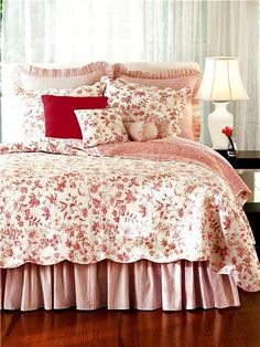 brighton red toile shabby chic french country quilt love this one