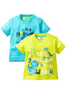Süßes Baby-T-Shirt mit Front-Druck - aqua/limettengrün