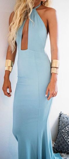 #summer #outfits / baby blue dress + gold details