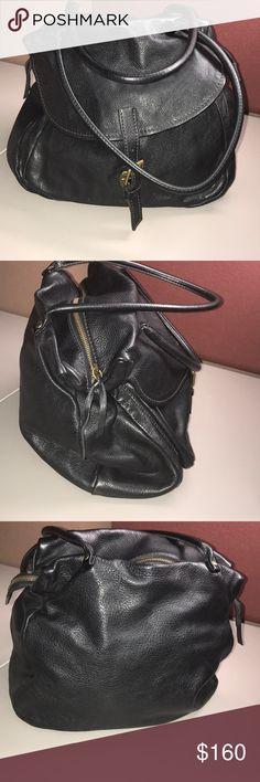 Miu Miu  Shoulder Bag A Prada product. Vintage Authentic Black pebble leather bag. Exterior pocket with slip lock. Brass tone hardware. Zip closure with lpi backing on zipper. ID tag inside clean interior. Zip pocket  with  lampo backing. 9.5' straps. Very nice bag. Miu Miu Bags Shoulder Bags
