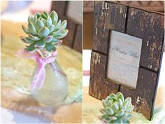 pink white elegant baby shower with green sprout flowers