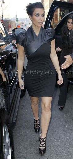 Seen on Celebrity Style Guide: Kim Kardashian arriving at the Sirius Satellite Company building in NYC to do an interview November 29, 2010