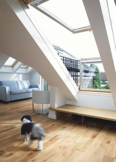 The great VELUX CABRIO balcony! Looks like a VELUX window but turns into a balcony in seconds! Try before you buy in the Roofinglines shop. Attic Loft, Loft Room, Attic Rooms, Attic Spaces, Bedroom Loft, Small Spaces, Cosy Bedroom, Loft Conversion Kitchen, Attic Conversion