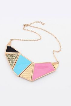 This necklace crafted in alloy, featuring irregular colored geometric shaped pendant, adjustable length with lobster clasp to the end.$10.5