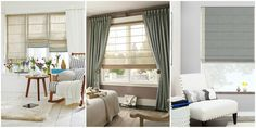 Plain classic pleated roman shades give a contemporary look to a traditional blind.  Simplistic yet very chic. #romanshades #shades #blinds #statement #interior #interiordesign #windowsill #solid #fabrics