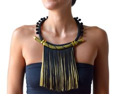 short rope fringe pompom statement necklace,ethnic necklace, black gold winter jewelry on Etsy, Tassel Jewelry, Textile Jewelry, Hippie Jewelry, Leather Jewelry, Beaded Jewelry, Black Gold Jewelry, Turquoise Jewelry, Ideas Joyería, Best Friend Jewelry