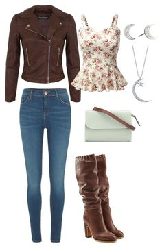 Brown Leather Jacket and Boots by rebecca-shosey on Polyvore featuring Doublju, Miss Selfridge, River Island, See by Chloé, Ally Capellino and Swarovski