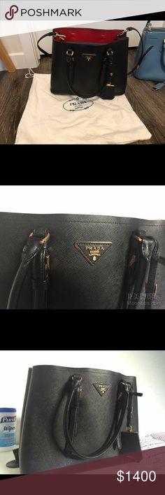 Prada double bag black 80% new,signs of normal wear Prada Bags Crossbody Bags