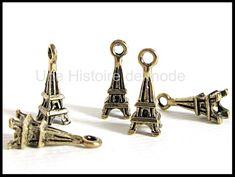 Breloque Tour Eiffel - UNE HISTOIRE DE MODE Bronze, Tour Eiffel, Cufflinks, Creations, Rings, Diy, Accessories, Fashion, Pennies