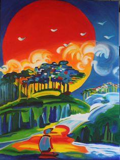 Zonsondergang, gemaakt in acryl.  Afm. 60 x 80 cm
