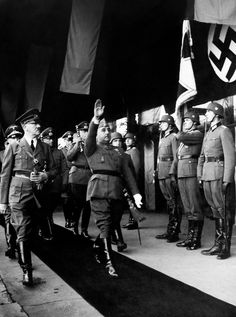Adolf Hitler and General Francisco Franco meet a train station in the recently occupied France. The two conducted a number of meetings with hopes that he'd offer support to the German war effort. Unfortunately for the Germans, Spain was simply under far too much strain from the devastation wreaked by the recent Civil War that the prospect of entering another war seemed unlikely.